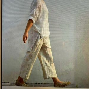Soft surroundings wide leg criss cross linen pants